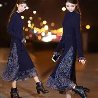 衬衫连衣裙女长袖2017秋装新款女装韩版显瘦条纹中长款裙子