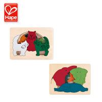 德国Hape大象鳄鱼猫咪农场动物多层探索拼图儿童玩具2岁+宝宝木制