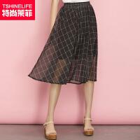 特尚莱菲 半身裙夏新款女时尚格纹中长裙松紧腰显瘦半裙子 HCR5130