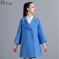 秋冬女士中长款韩版外套时尚翻领双面羊毛大衣C16013