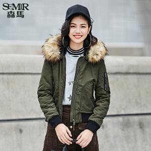 森马棉服 冬装 女士韩版可拆卸帽毛领字母宽松棉衣外套