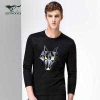 七匹狼长袖T恤 2017新品 男士潮流修身卫衣时尚圆领T恤T 男装 6015686
