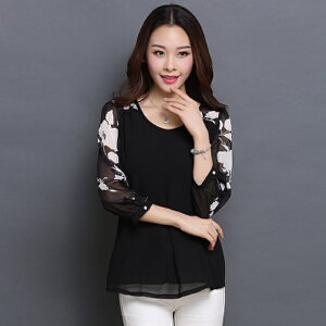 【当当年中庆】新款印花韩版修身大码品质七分袖花色雪纺衫女秋装新款