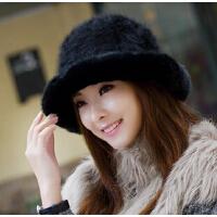 女秋冬天韩版时尚针织保暖兔毛帽女士盆帽渔夫帽 礼帽 冬季