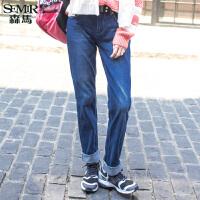 森马水洗牛仔裤 冬装 女士休闲中腰直筒牛仔长裤韩版女装