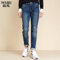 森马水洗牛仔裤 冬装 男士中低腰弹力修身牛仔直筒长裤