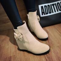 彼艾2016秋冬新款女式短靴红色内增高平底靴子磨砂及踝靴蝴蝶结女靴子