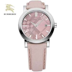 巴宝莉粉色英伦风圆形中性大表盘石英腕表