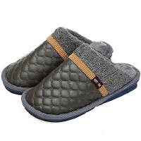 新园秋冬季男女棉拖鞋 情侣保暖棉鞋 半包跟棉拖鞋1603男款灰色