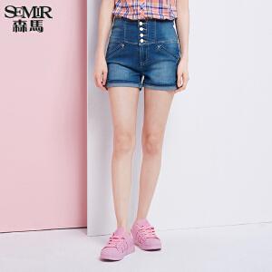 森马水洗牛仔裤 夏装 女士直筒弹力牛仔短裤热裤 韩版潮