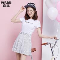 森马短袖T恤 夏装 女士圆领字母直筒短袖t恤女装 韩版潮