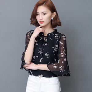【当当年中庆】波柏龙 夏季新款印花雪纺衫短袖韩版淑女打底衫V领大码T恤