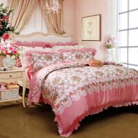 富安娜家纺 馨而乐全棉床上用品4件纯棉床单四件套件初妆花蕾