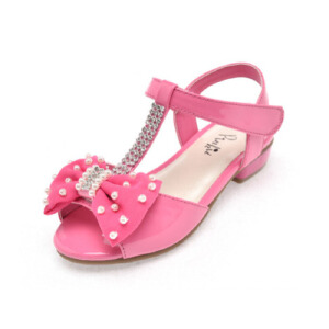 鞋柜夏季新款 蝴蝶结串珠水钻魔术贴露趾女童凉鞋