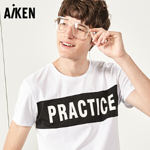 Aiken短袖T恤男士2017夏装新款圆领半袖体恤上衣潮牌夏天字母学生