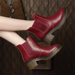 ZHR冬季清仓真皮短靴女粗跟短筒马丁靴英伦风女靴学生中跟靴子H67