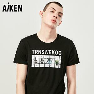 Aiken短袖T恤男士2017夏装新款圆领体恤男个性字母印花半袖上衣潮