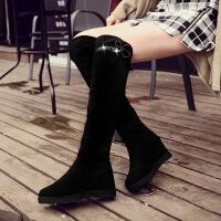 彼艾2016秋冬新款韩版坡跟过膝长靴弹力长筒靴平底内增高靴子女高筒靴女靴子