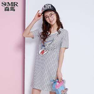 森马连衣裙 夏装新款 女士短袖兔八哥条纹印花裙子韩版