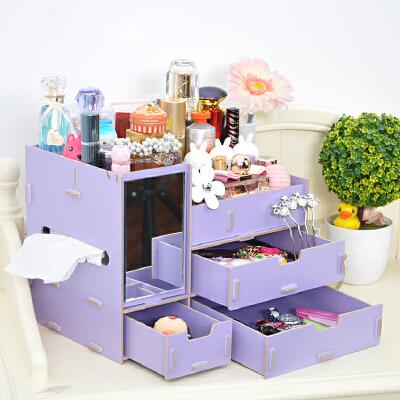 家居日用超大木质木制桌面整理盒收纳盒抽屉带镜子化妆品梳妆盒收纳箱