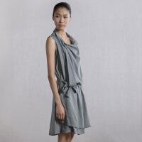 【AMII超级大牌日】[极简主义] REDEFINE 堆堆领纯棉开叉带腰带无袖连衣裙 11240188