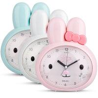 【满99-30满199-80】得力 8803 兔子可爱懒人闹钟静音闪光灯儿童小闹钟床头走时精准