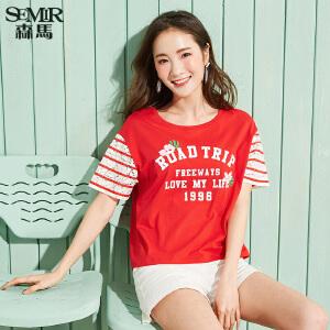森马短袖T恤女2017夏装新款半袖上衣宽松韩版学生百搭蕾丝印花T恤