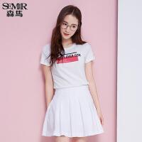 森马短袖T恤 夏装 女士圆领几何字母印花纯棉直筒t恤韩版
