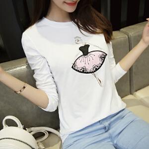 波柏龙 白色长袖女t恤学生修身新款女装韩版百搭打底衫女新款