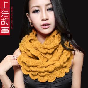 上海故事韩版时尚女围脖秋冬季加厚保暖围巾纯色百搭披肩两用