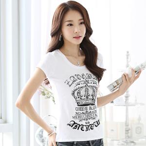 波柏龙 夏季新款短袖T恤女夏韩版修身显瘦印花烫钻纯棉打底衫