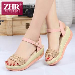 ZHR2017夏季新品厚底凉鞋女学生坡跟女鞋松糕凉鞋波西米亚女凉鞋潮M52