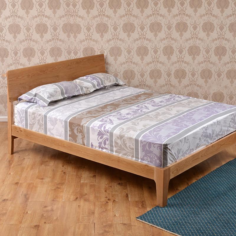 森岳家具 实木白橡木原木 木床1.8米双人床1.5米婚床标准床1.