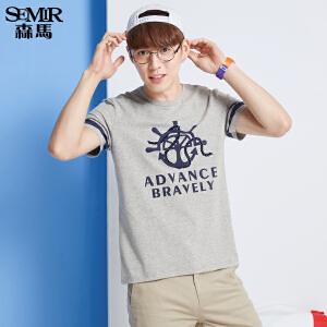 森马短袖T恤 春装 男士圆领印花直筒学生针织衫韩版潮T男