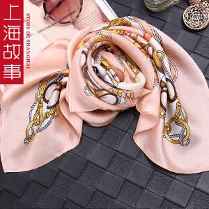 上海故事韩版真丝围巾秋冬季桑蚕丝卡通男女童小熊领巾领巾小方巾