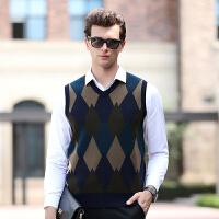 伯克龙 纯羊毛衫男士圆领条纹冬季厚款保暖男装修身针织衫毛线衣Z88312