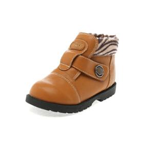 Shoebox/鞋柜 斑马纹拼接帅气加绒皮鞋男童鞋