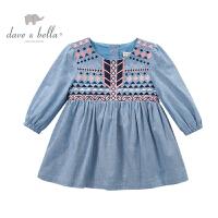 davebella戴维贝拉  女童秋装长袖连衣裙 女宝宝新款裙子