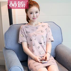 【满200减100】【赫��】2017夏装新款韩国短袖t恤女学生宽松显瘦韩版百搭中长款上衣潮H6653