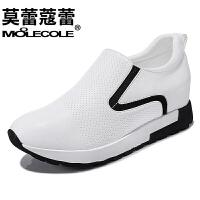 莫蕾蔻蕾  女鞋镂空休闲韩版中跟厚底防水台套脚单鞋潮   6Q359