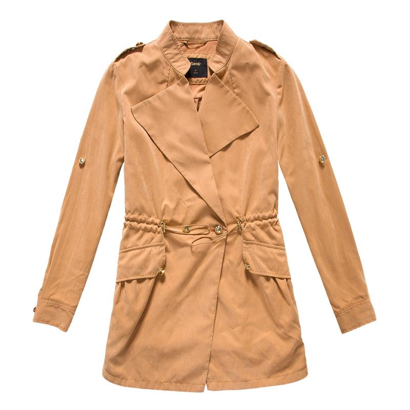 女士服装 外套 森 马外套 森马2015春装休闲风衣 女装中长款 收腰韩版图片
