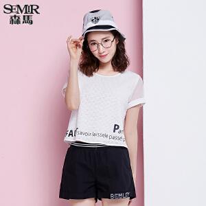 森马短袖衬衫 夏装 女士休闲圆领字母印花宽松衬衣韩版潮