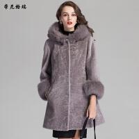 女装冬季抗寒保暖中长款时尚狐狸毛连帽羊剪绒皮草外套