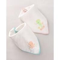 棒棒猪婴儿童全棉宝宝口水巾洗脸小方巾三角巾2条