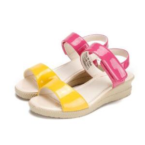 鞋柜SHOEBOX 女童可爱舒适清新简约黄拼玫红色凉鞋凉鞋