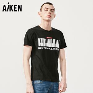 aiken短袖T恤男士2017夏装新款圆领个性潮流半袖体恤男修身