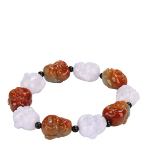 戴和美珠宝首饰 天然A货翡翠手链18罗汉手串