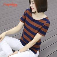 夏装韩版半袖条纹上衣短袖女t恤不对称宽松纯棉打底衫大码女装