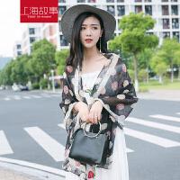 上海故事 女士真丝丝巾小香风玫瑰防晒披肩夏季百搭新款桑蚕丝新款