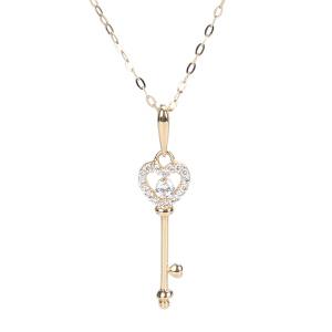 戴和美珠宝首饰项链 精选14K金钥匙项链